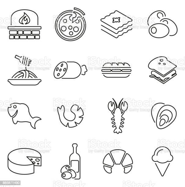 Italian Traditional Food Icons Thin Line Vector Illustration Set - Immagini vettoriali stock e altre immagini di Bianco e nero