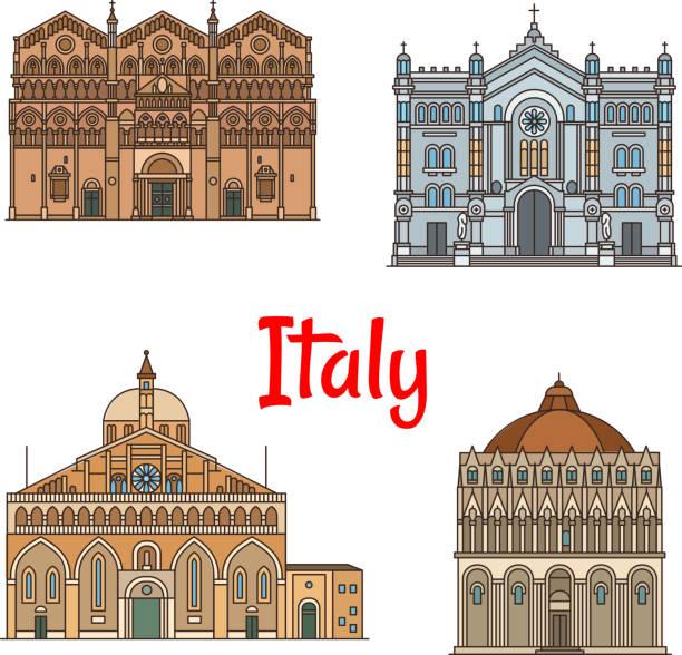 italienische reise-wahrzeichen dünne linie icon set-design - padua stock-grafiken, -clipart, -cartoons und -symbole