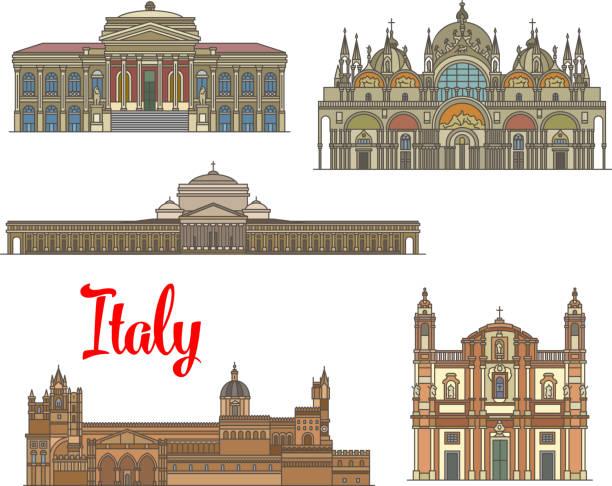 illustrazioni stock, clip art, cartoni animati e icone di tendenza di italian travel landmarks of arts and religion - palermo città