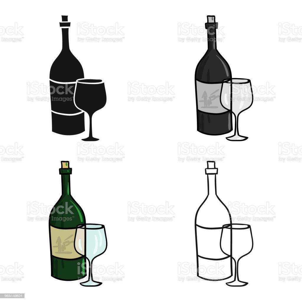 Vin italien d'icône d'Italie en style cartoon isolé sur fond blanc. Italie pays symbole vecteur stock web illustration. - clipart vectoriel de Alcool libre de droits