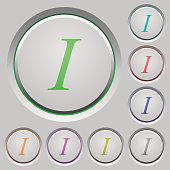 Italic font type push buttons