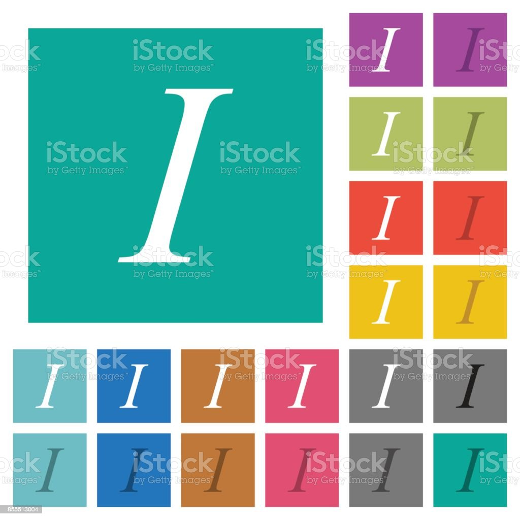 Italic Font Type Square Flat Multi Colored Icons Stock Vector Art