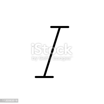 italic icon. Can be used for web, logo, mobile app, UI, UX on white background