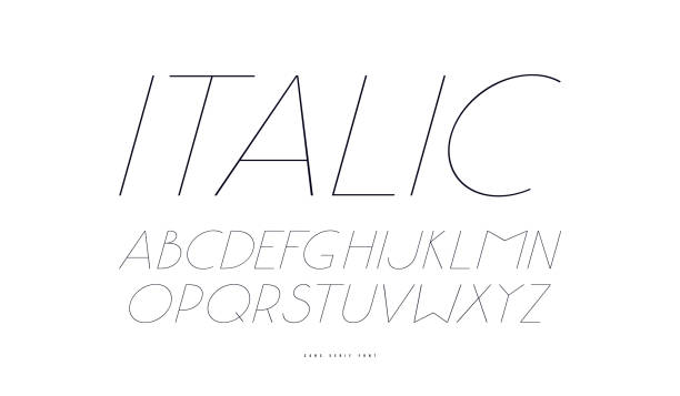 Italic sans serif font in classic style vector art illustration