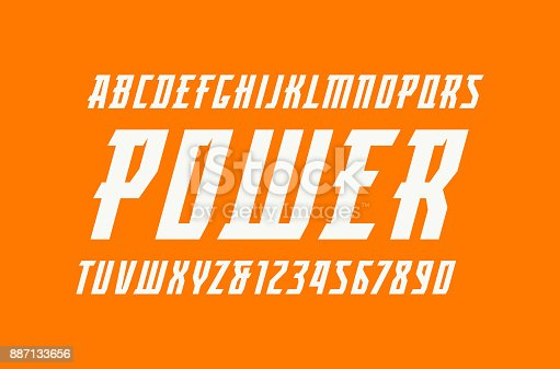 Italic serif font in the sport style. Letters and numbers for  title design. Print on orange background