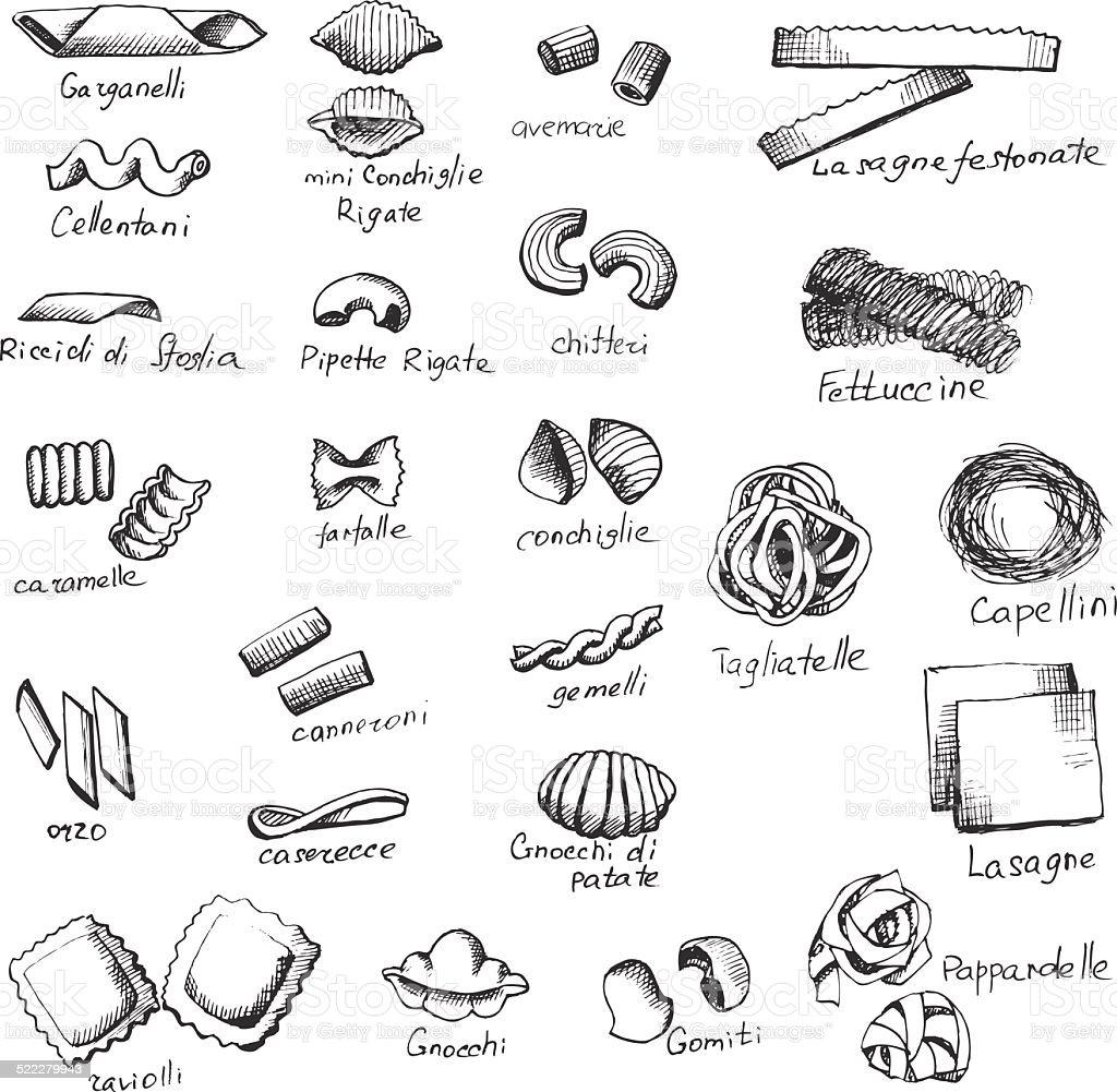 itallian pasta 6 vector art illustration