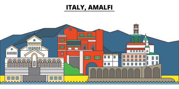 bildbanksillustrationer, clip art samt tecknat material och ikoner med italien, amalfi. stadens skyline, arkitektur, byggnader, gator, siluett, landskap, panorama, sevärdheter. redigerbara stroke. platt design line vektor illustration koncept. isolerade ikoner - amalfi