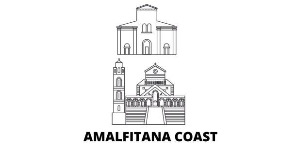 bildbanksillustrationer, clip art samt tecknat material och ikoner med italien, amalfi coast linje resor skyline set. italien, amalfi coast kontur stad vektor illustration, symbol, resor sevärdheter, landmärken. - amalfi