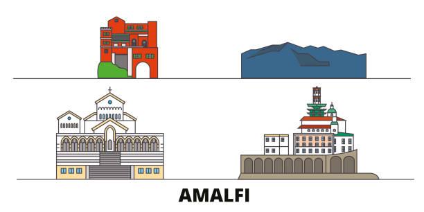 bildbanksillustrationer, clip art samt tecknat material och ikoner med italien, amalfi platta landmärken vektor illustration. italien, amalfi linje stad med berömda resor sevärdheter, skyline, design. - amalfi