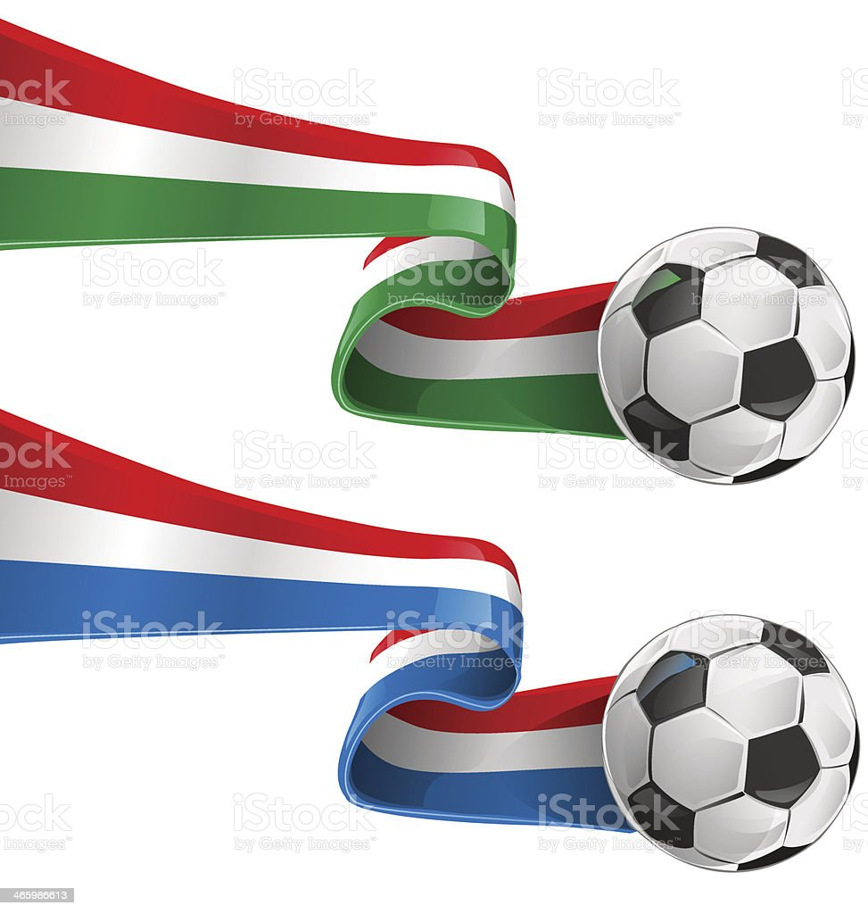 italy and france flag with soccer ball vector art illustration