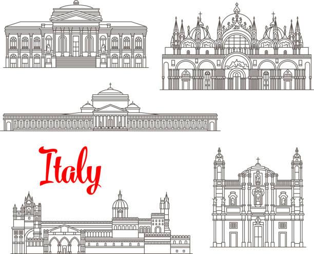 illustrazioni stock, clip art, cartoni animati e icone di tendenza di italy architecture buildings vector icons - palermo città