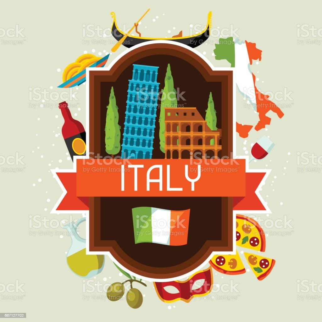 Italy Background Design Italian Symbols And Objects Stock Vector Art