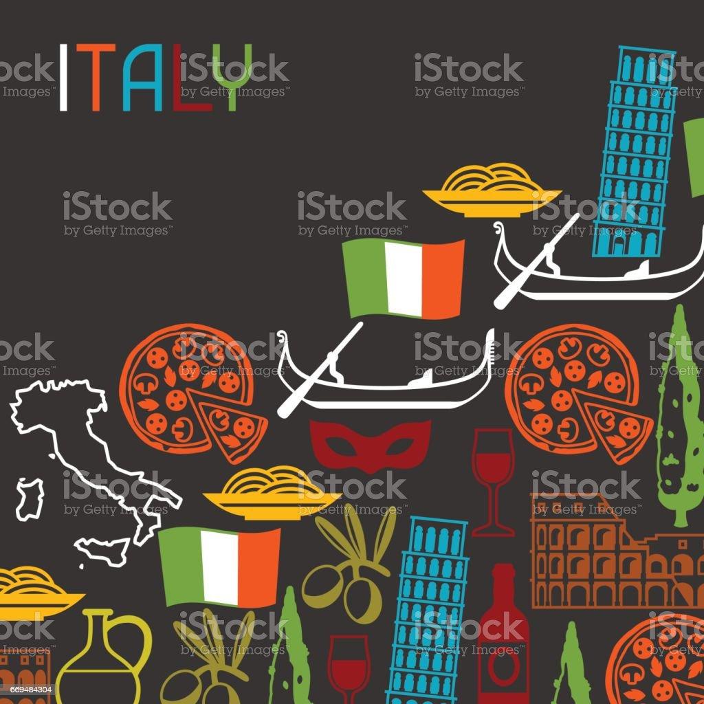 Italy Background Design Italian Symbols And Objects Stock Vector Art