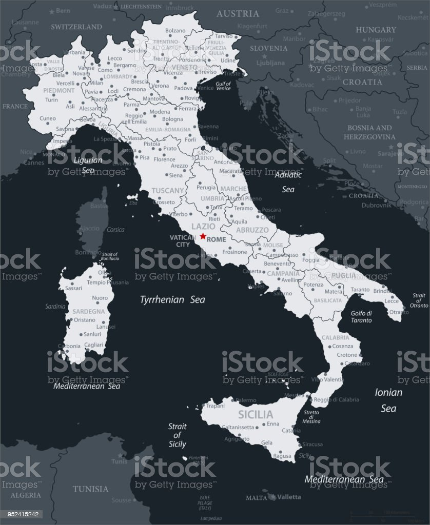 19 - Italy - Black Gray 10 vector art illustration