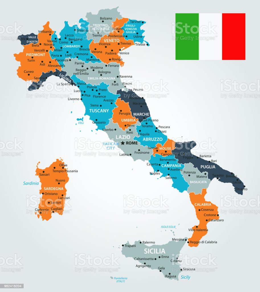 13 - Italy - Blue-Orange 10 vector art illustration