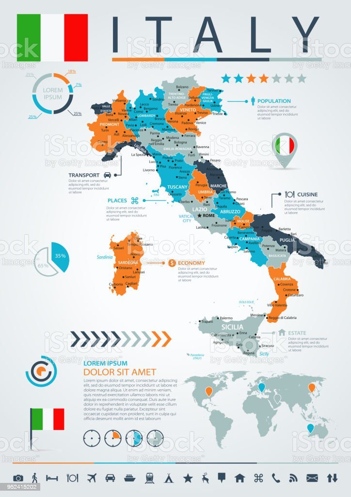 12 - Italy - Blue-Orange Infographic 10 vector art illustration