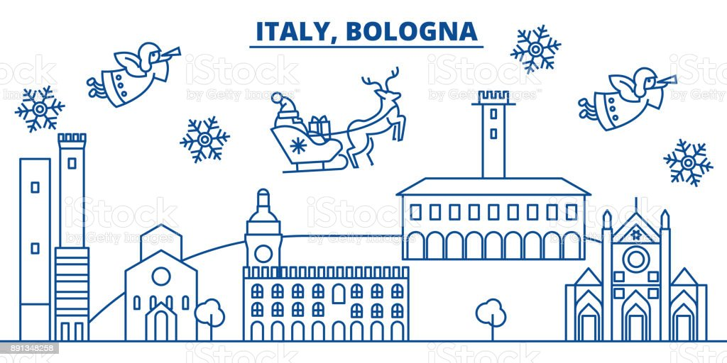 Italy, Bologna winter city skyline. Merry Christmas, Happy New Year decorated banner with Santa Claus.Winter greeting line card.Flat, outline vector.Linear christmas snow illustration vector art illustration