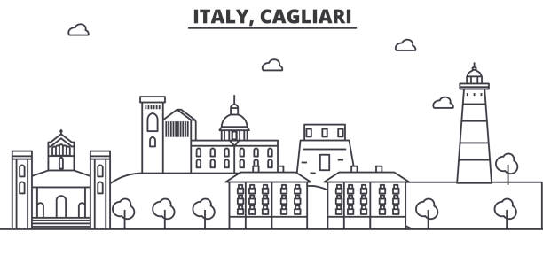 illustrazioni stock, clip art, cartoni animati e icone di tendenza di italia, cagliari architettura linea skyline illustrazione. paesaggio urbano vettoriale lineare con monumenti famosi, attrazioni della città, icone di design. orizzontale con tratti modificabili - sardegna