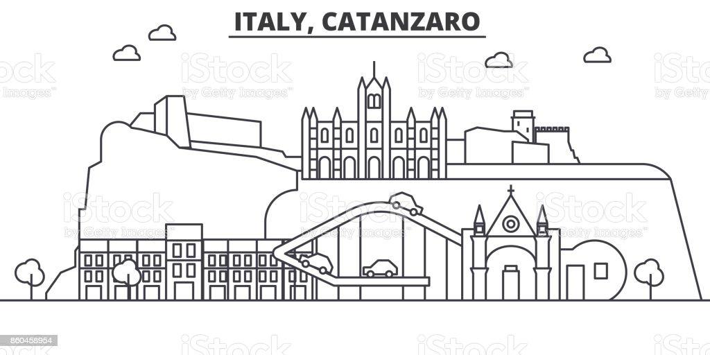 Italy, Catanzaro architecture line skyline illustration. Linear vector cityscape with famous landmarks, city sights, design icons. Landscape wtih editable strokes - arte vettoriale royalty-free di Acqua