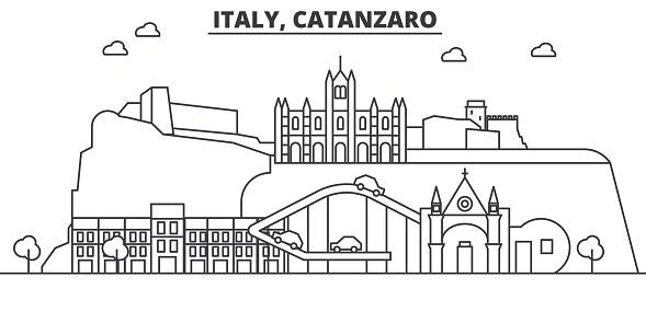 Italy Catanzaro Architecture Line Skyline Illustration Linear Vector Cityscape With Famous Landmarks City Sights Design Icons Landscape Wtih Editable Strokes - Immagini vettoriali stock e altre immagini di Acqua