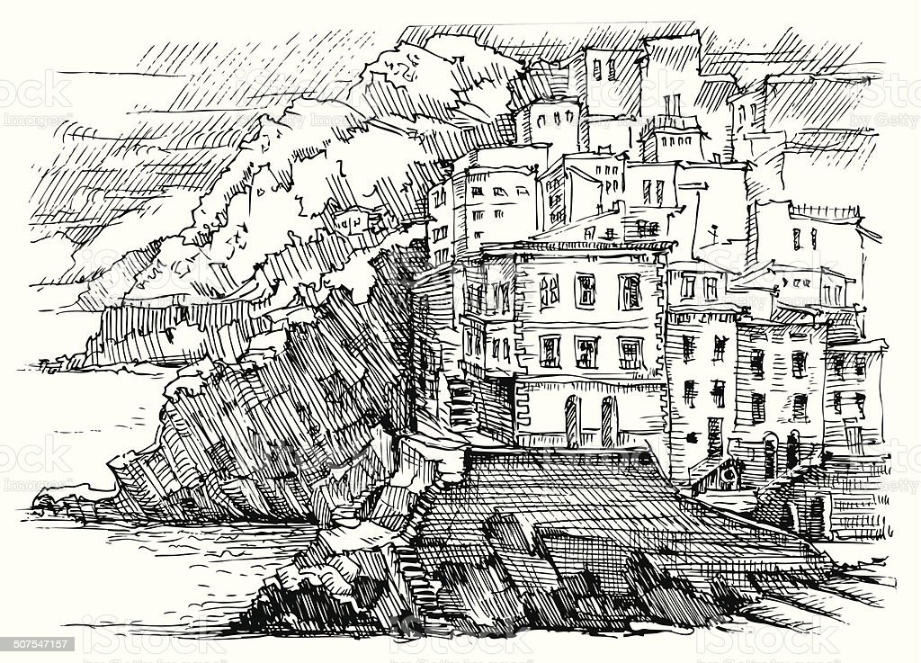 Ilustração de Cinque Terre Itália e mais banco de imagens de Casa on