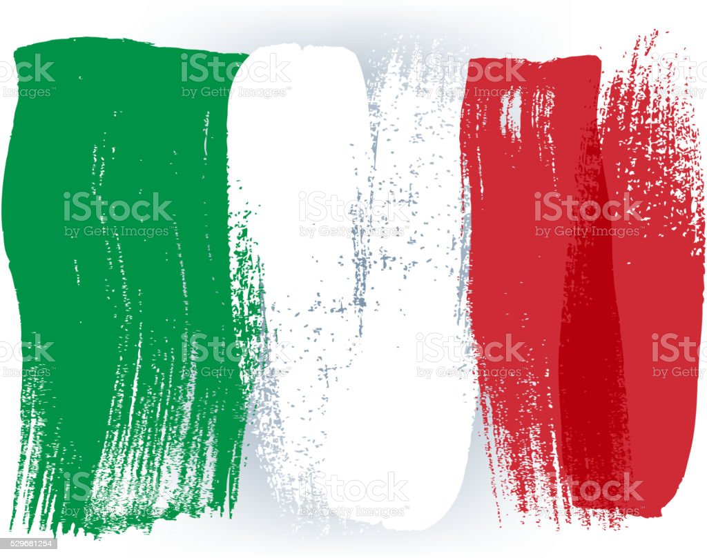 Italy colorful brush strokes painted flag vector art illustration