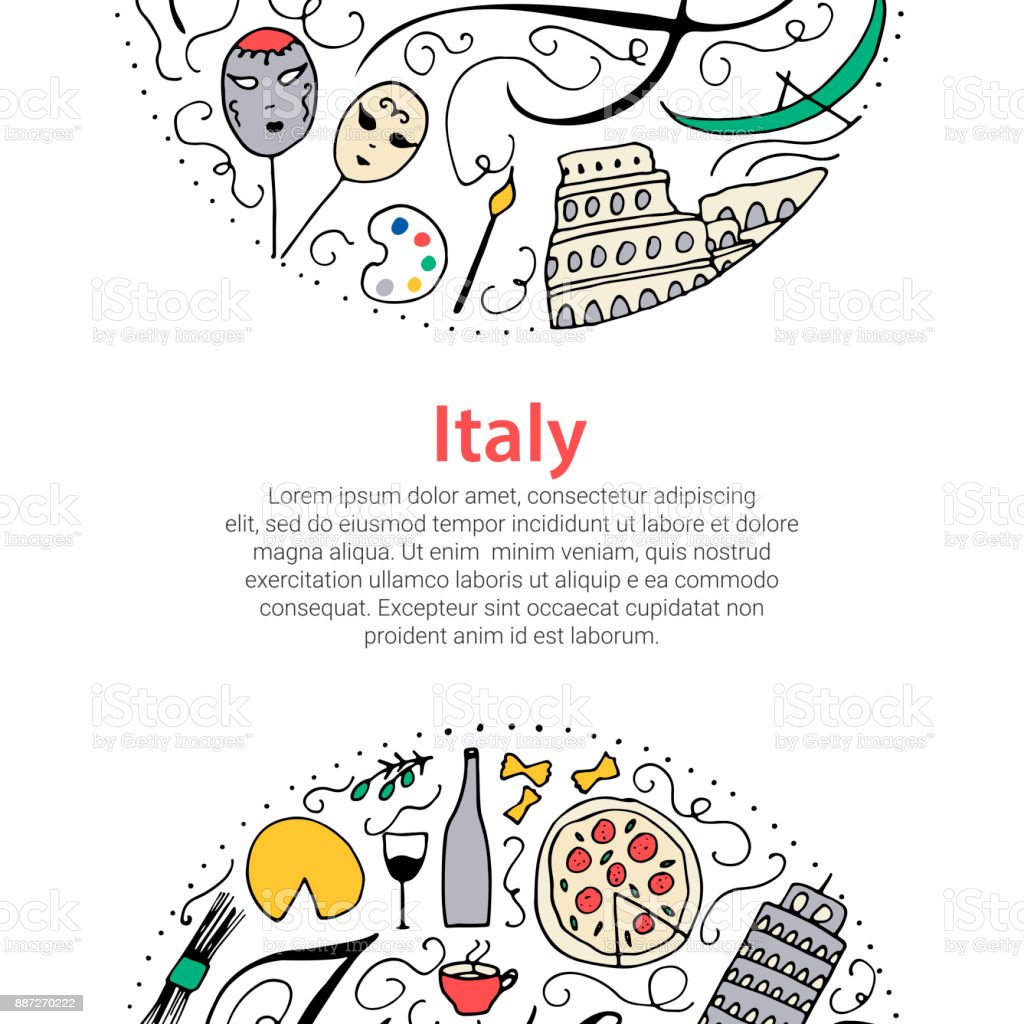 Italy concept. Doodle vector elements. Culture of Italy. vector art illustration