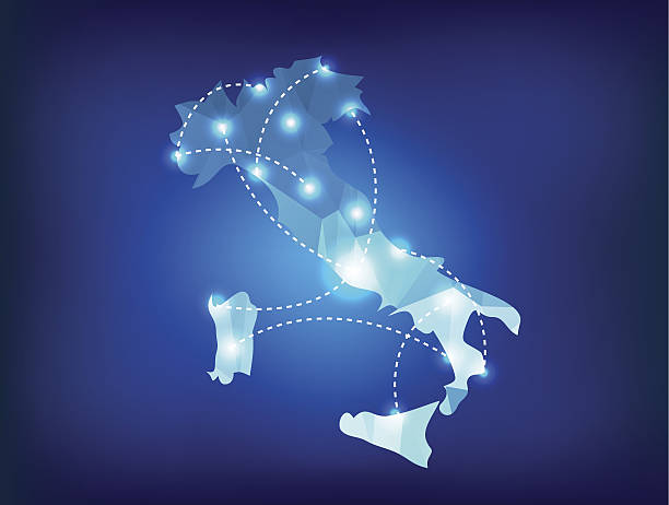 Italy country map polygonal with spot lights places vector art illustration