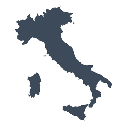 A graphic illustrated vector image showing the outline of the country Italy. The outline of the country is filled with a dark navy blue colour and is on a plain white background. The border of the country is a detailed path.