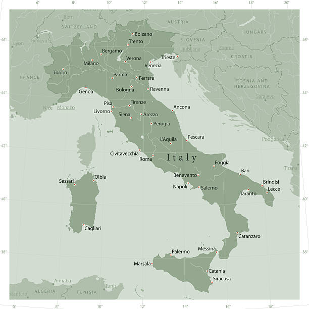 Italy Country Vector Map Olive Green Vector map of Italy, including main cities, rivers and lakes. The colors in the .eps-file are ready for print (CMYK). Included files are EPS (v10) and Hi-Res JPG (4922 x 4922 px). vector map green stock illustrations