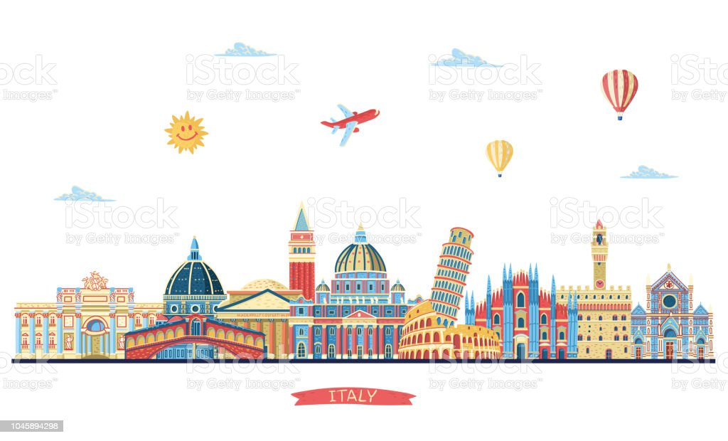 Italy detailed skyline. Italy famous monuments. Vector illustration - arte vettoriale royalty-free di Acqua