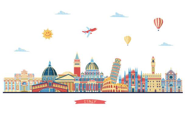 illustrazioni stock, clip art, cartoni animati e icone di tendenza di italy detailed skyline. italy famous monuments. vector illustration - firenze