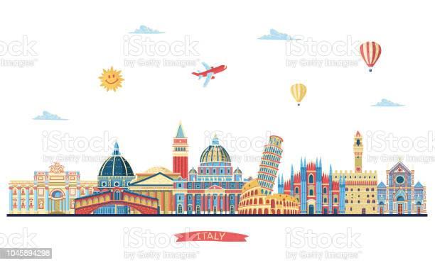 Italy Detailed Skyline Italy Famous Monuments Vector Illustration - Immagini vettoriali stock e altre immagini di Acqua