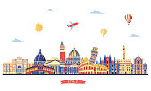 Italy detailed skyline. Italy famous monuments. Vector illustration