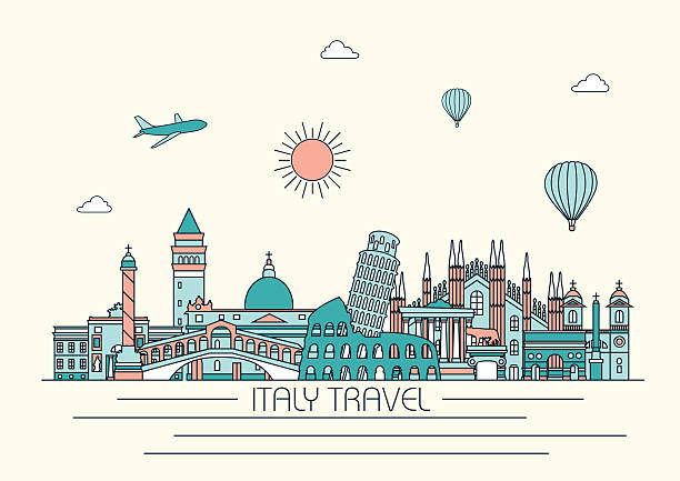 Italy detailed skyline. Vector background. line illustration. Line art style Italy detailed skyline. Vector background. line illustration. Line art style loon bird stock illustrations