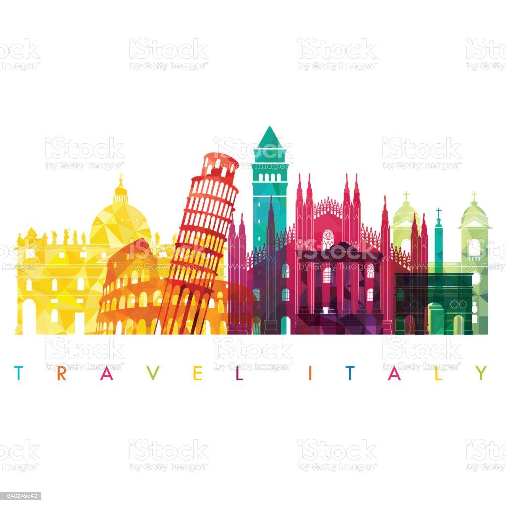 Italy detailed skyline. Vector illustration. Travel and tourism background - Illustrazione stock royalty-free di Affari finanza e industria