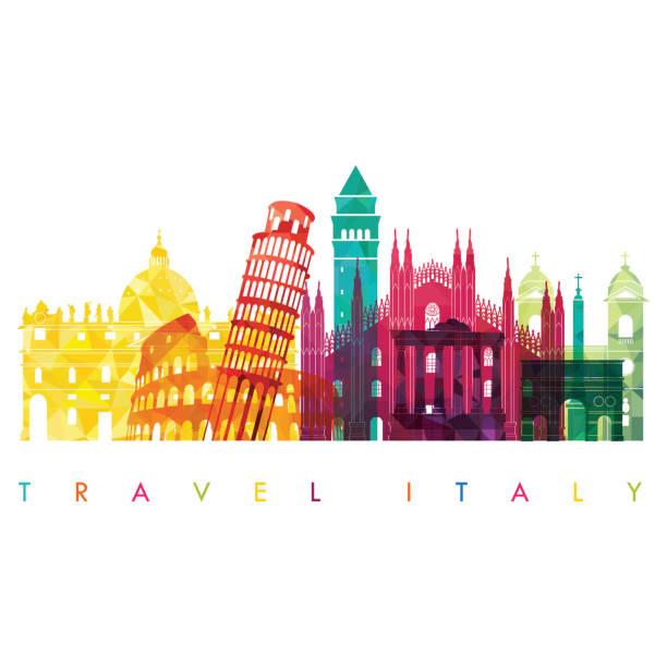illustrazioni stock, clip art, cartoni animati e icone di tendenza di italy detailed skyline. vector illustration. travel and tourism background - milan fiorentina