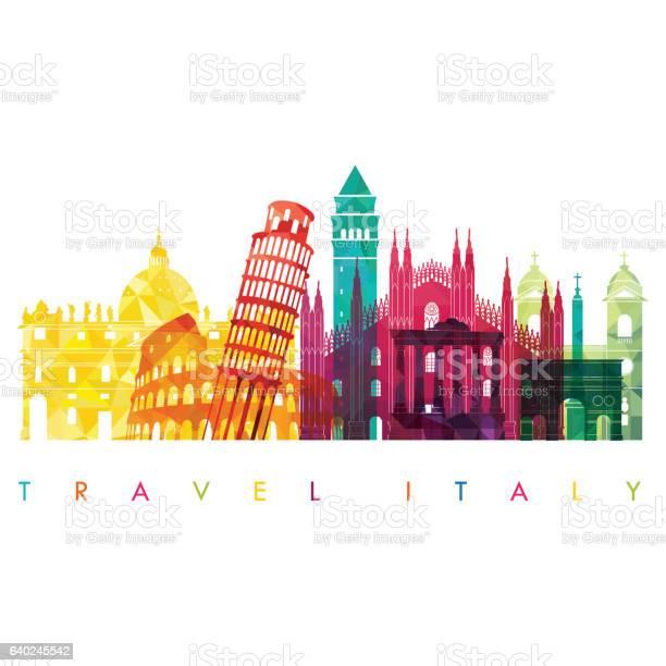 Italy Detailed Skyline Vector Illustration Travel And Tourism Background - Immagini vettoriali stock e altre immagini di Affari finanza e industria
