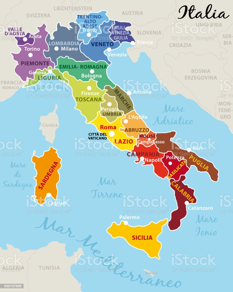 Italy Divided Into 20 Regions With State Capital And Ragions
