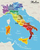 Italy divided into 20 regions with state capital and ragions capitals. Vector illustration III.