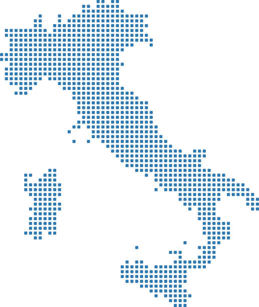 illustrazioni stock, clip art, cartoni animati e icone di tendenza di italy dotted map. italy map dots. highly detailed pixelated italy map vector outline illustration in blue background - calabria map