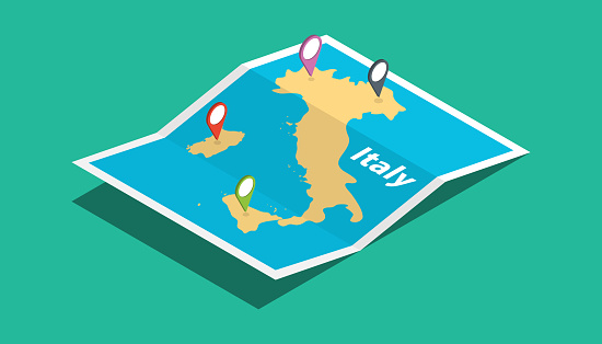 italy explore maps with isometric style and pin location tag on top