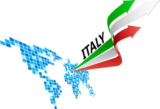 italien flagge pfeil - südeuropa stock-grafiken, -clipart, -cartoons und -symbole