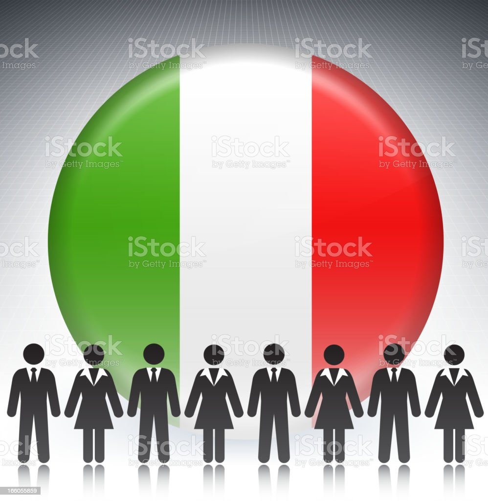 Italy Flag Button with Business Concept Stick Figures royalty-free stock vector art