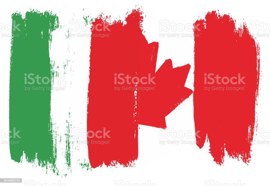 Ilustración de Bandera De Italia Y Canadá Bandera Vector Pintadas A ...