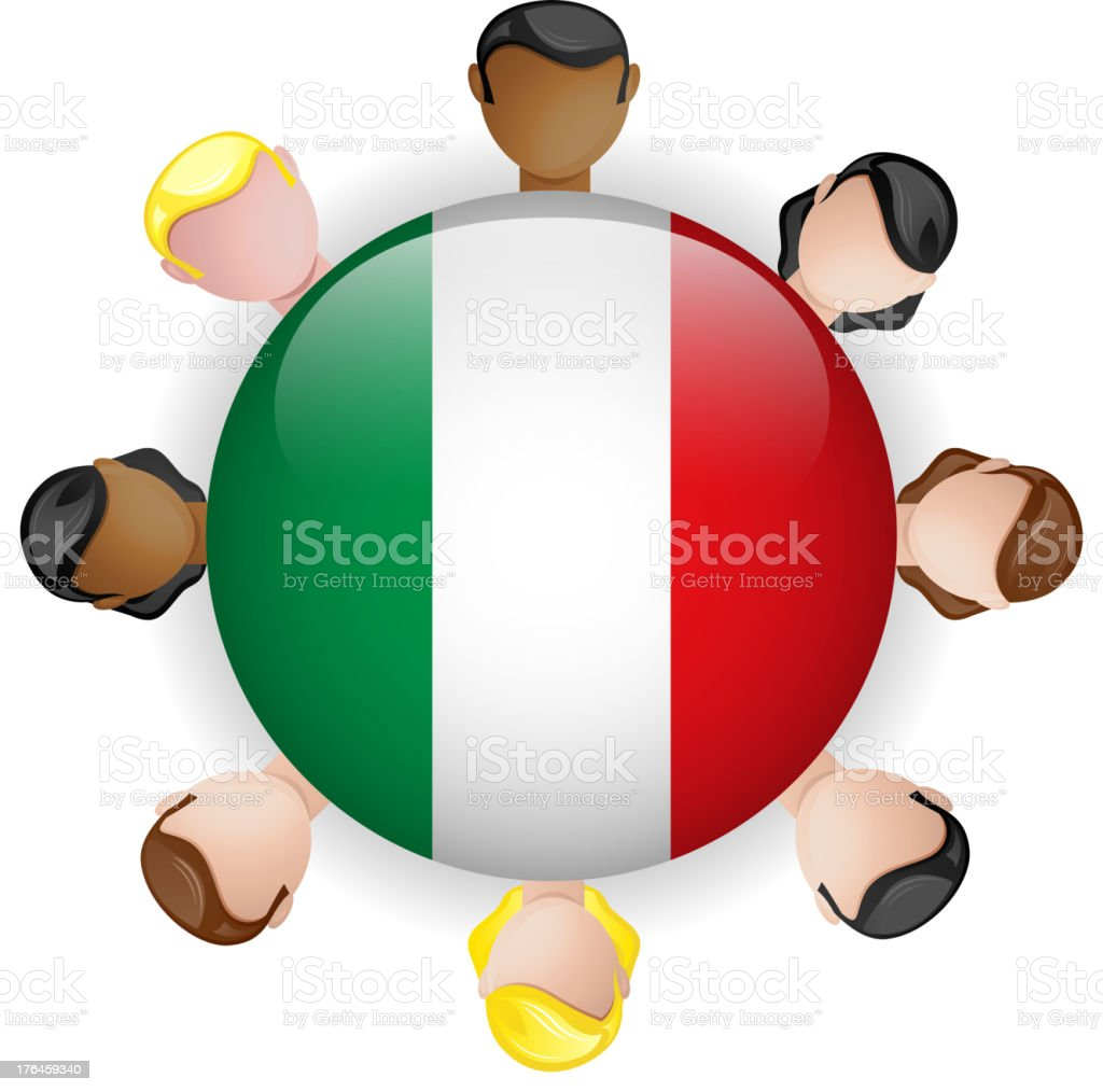Italy Flag Glossy Button with People royalty-free stock vector art