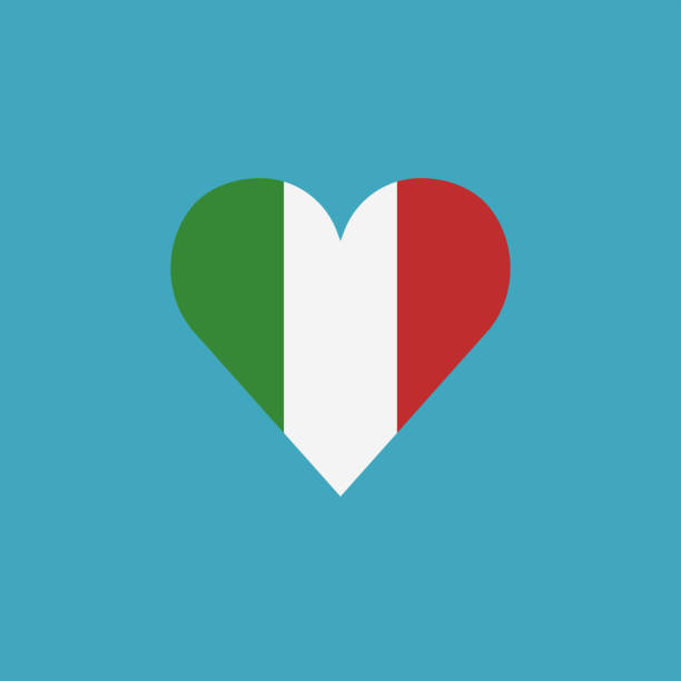 Italy flag icon in a heart shape in flat design vector art illustration