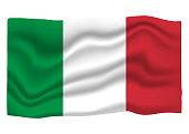Italy Flag Icon. National Flag Banner. Cartoon Vector illustration.