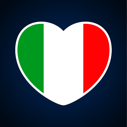 italy flag in a shape of heart. Icon flat heart symbol of love on the background national flag. Vector illustration.