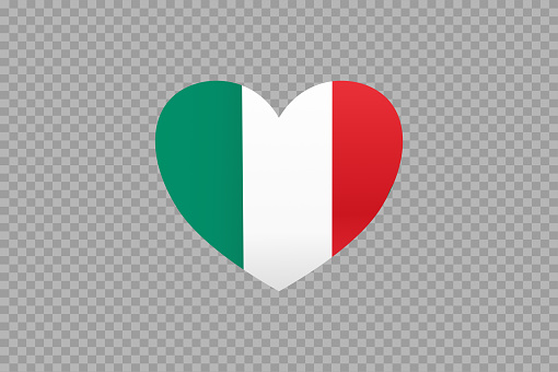 Italy flag in heart shape isolated  on png or transparent  background,Symbols of Italy, template for banner,card,advertising ,promote,vector, top gold medal sport winner country